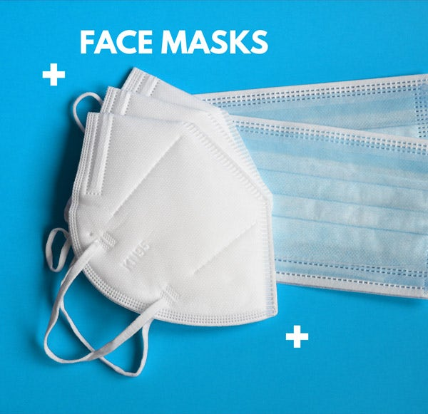 Shop our range of protective face masks to cover the mouth and nose. In Packs of 5 and 20.